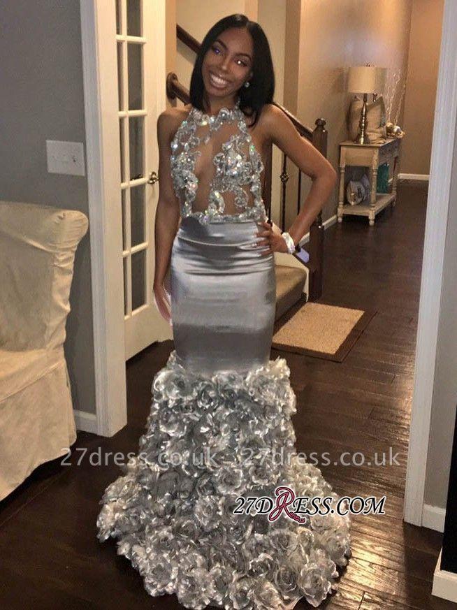 Halter Elegant Mermaid Applique Rose Flowers See Through Prom Dress UKes UK BK0