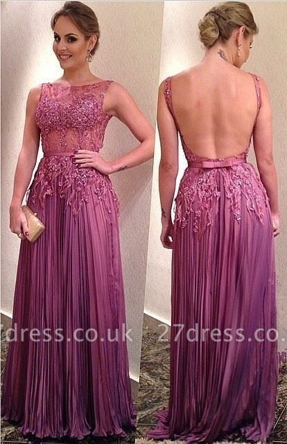 Sexy Illusion Open Back Prom Dress UK Lace Appliques Floor-length