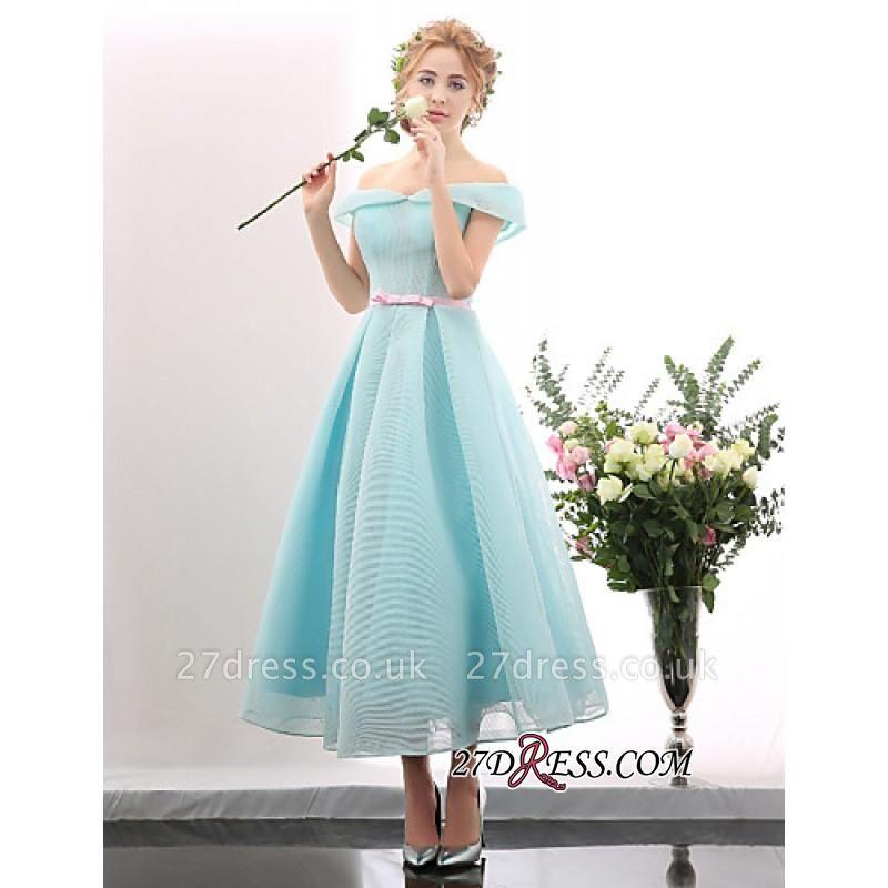 Chic Short Blue Light Tea-length Cap-Sleeve Sky Cocktail Dress UK