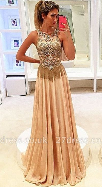 Newest Beadings Chiffon Illusion Prom Dress UK A-line Sweep Train