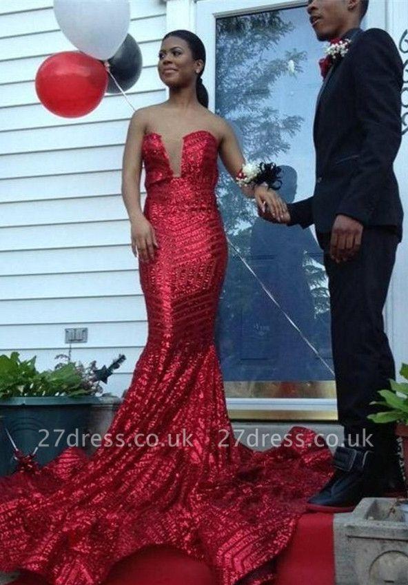 Elegant Sequined Sleeveless Bodycon Prom Dress UK   Red Prom Dress UK BK0
