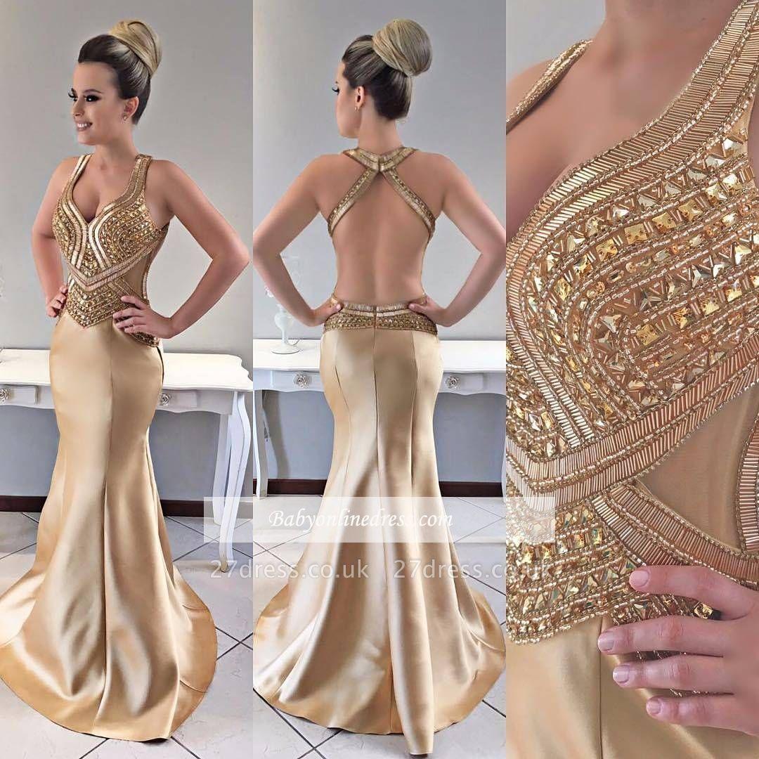 Gold prom Dress UK, crystal mermaid evening Dress UK