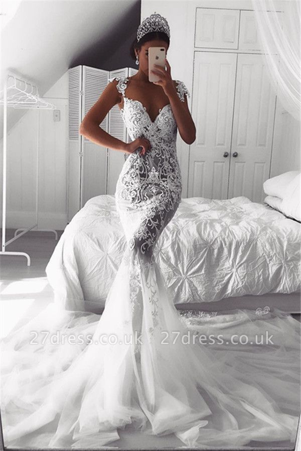 Sexy Mermaid Straps Wedding Dresses UK Sheer Cheap Tulle Sleeveless Appliques Bridal Gowns