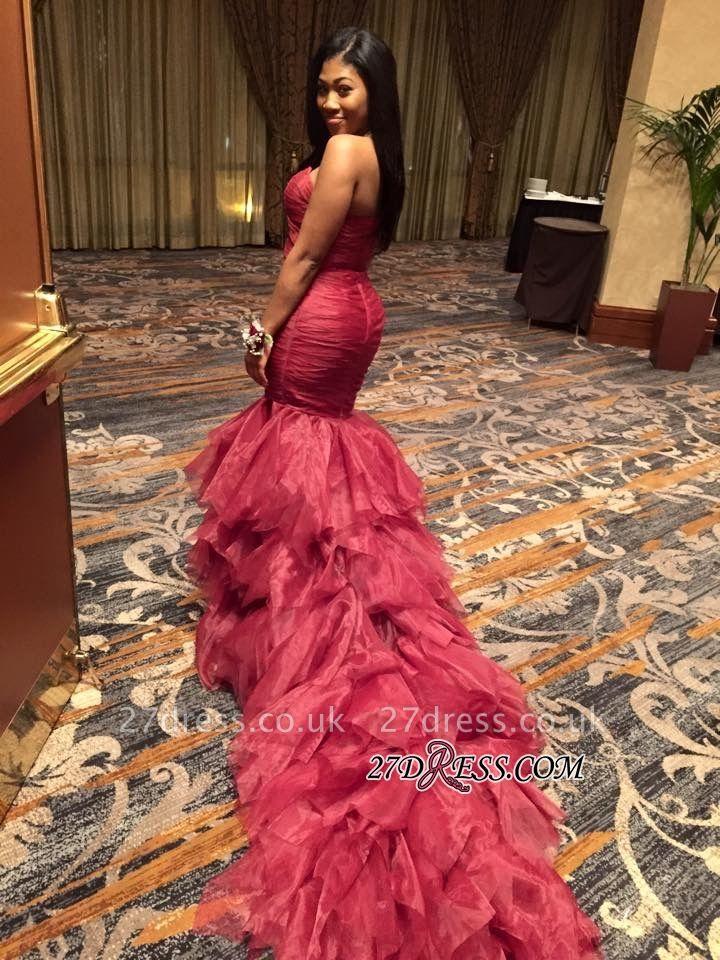 Ruffles Sleeveless Mermaid Elegant Sweetheart Red Prom Dress UKes UK