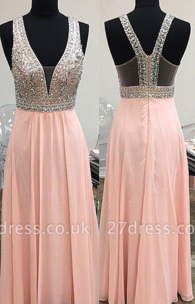 Lovely Pink Halter Prom Dress UK Long Chiffon With Beaidngs
