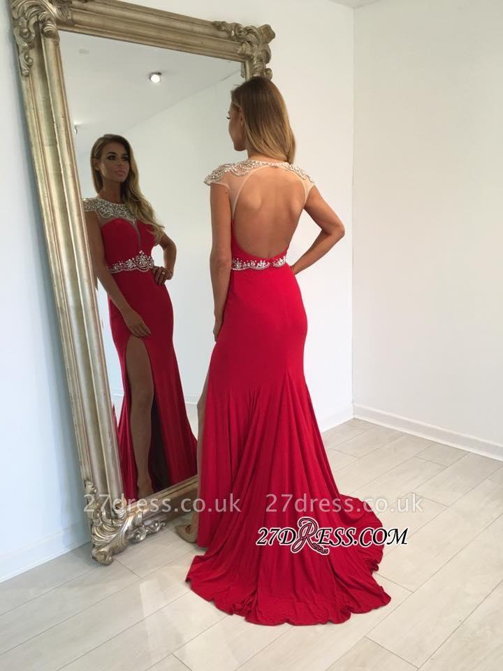 Long Crystal Red Cap-Sleeve Elegant Split Prom Dress UK BA7693