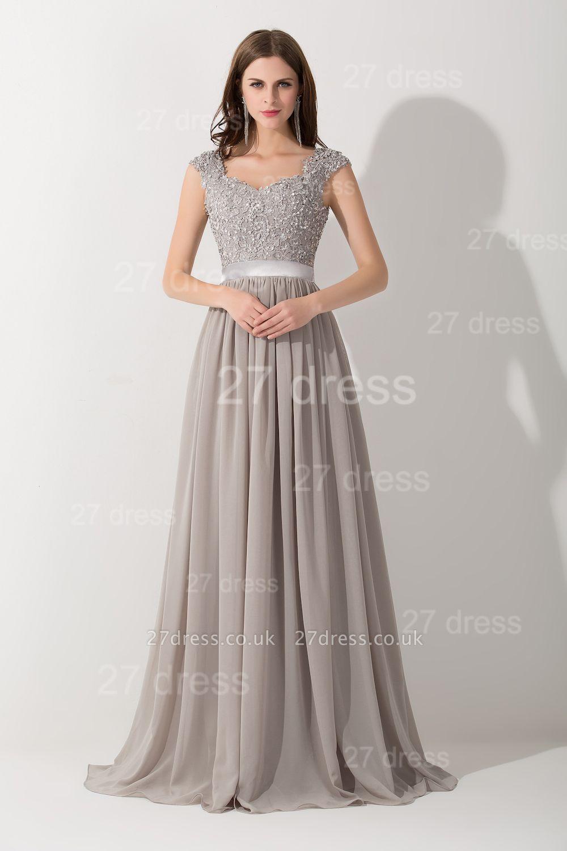 Modern Lace Appliques Chiffon Evening Dress UK Cap Sleeve