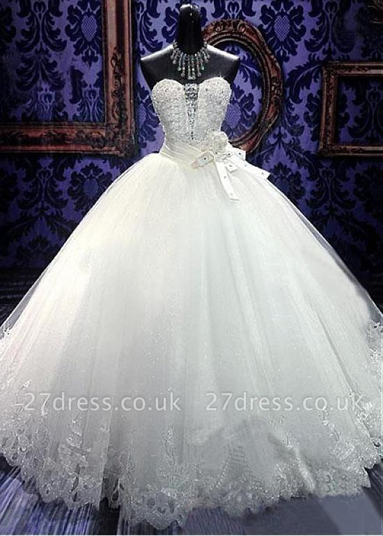 Elegant Sweetheart Sleeveless Tulle Lace Wedding Dress With Beadss Crystals