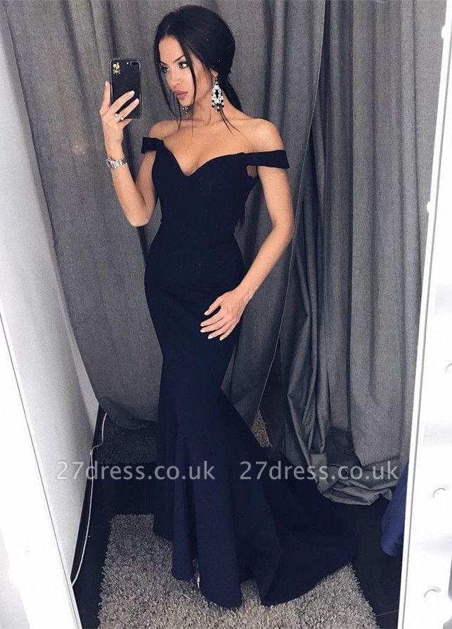 Elegant Black Off-the-Shoulder Prom Dress UK Long Mermaid Evening Dress UK On Sale BA6751