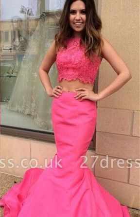 Newest Pink Two Piece Prom Dress UK Lace Mermaid Sweep Train