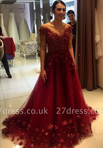 Gorgeous Off-the-Shoulder Burgundy A-Line Prom Dress UKes UK Tulle Appliques