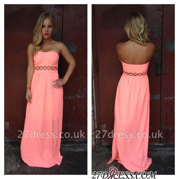 Simple Strapless Sleeveless Floor-length A-line Prom Dress UK