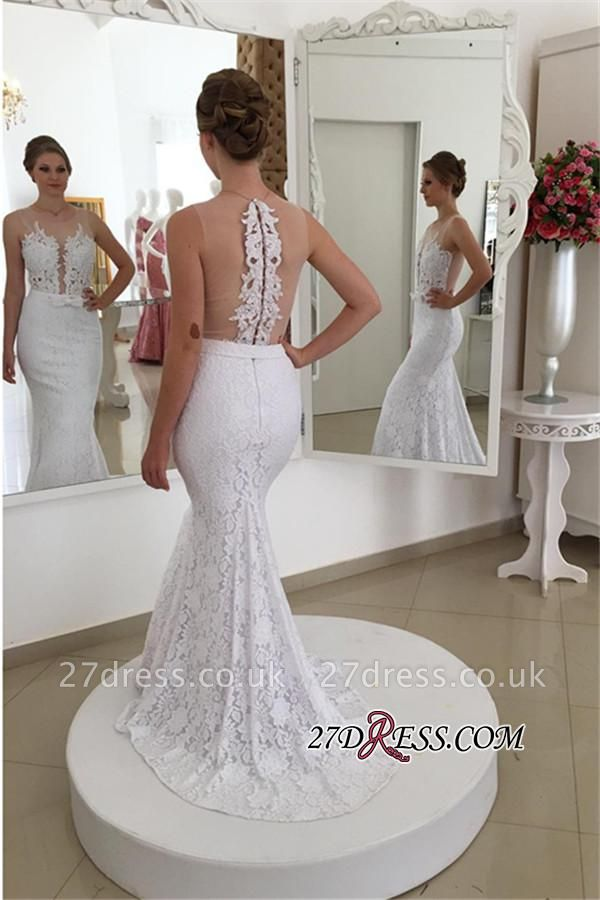 Sleeveless Simple Sexy Mermaid Lace Appliques White Wedding Dress