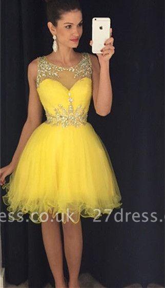 Gorgeous Beadings Yellow Short Cocktail Dress UK Illsuion Sleeveless  BA2862