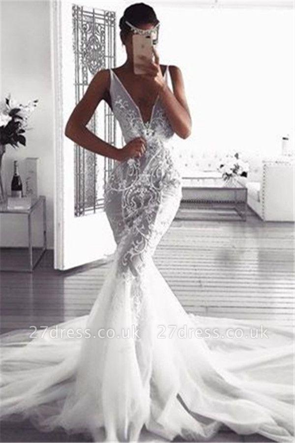 Elegant  Sexy Mermaid Deep v-Neck Wedding Dresses UK | Sleeveless Tulle Cheap Appliques Bridal Gowns