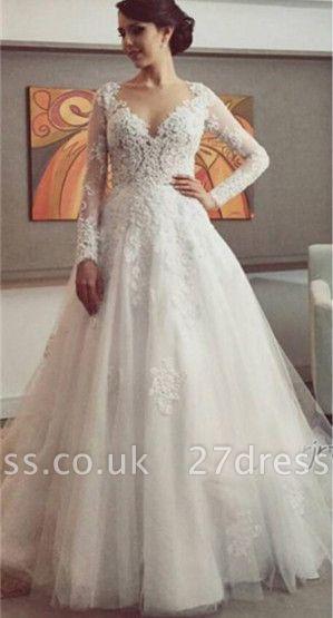 Delicate Lace Appliques Tulle Wedding Dress Button Zipper Back Long Sleeve