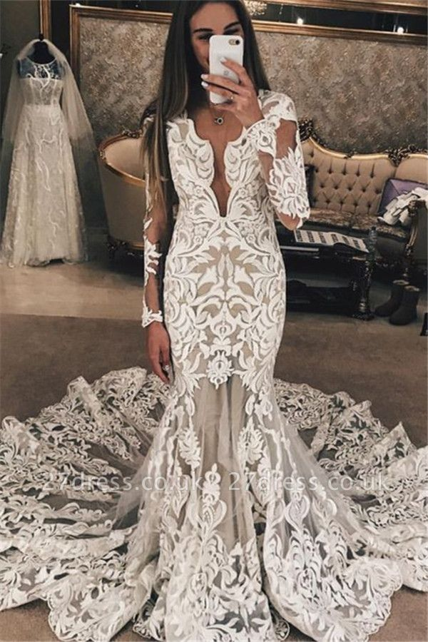 Long Sleeve Unique Lace Wedding Dresses UK |  Sexy Mermaid Lace Long Train Bridal Gown