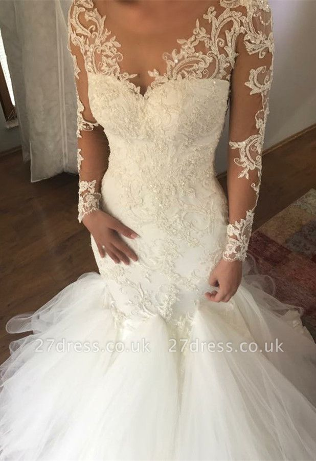 Elegant Long Sleeve Lace Wedding Dress | Sexy Mermaid Bridal Gowns