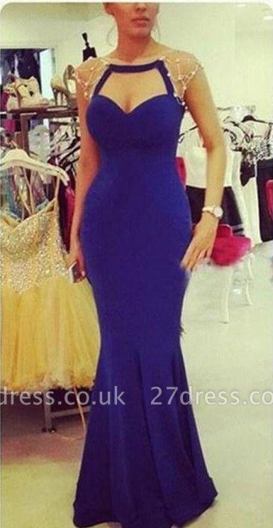 Elegant Mermaid Cap Sleeve Prom Dress UK Zipper Button Back