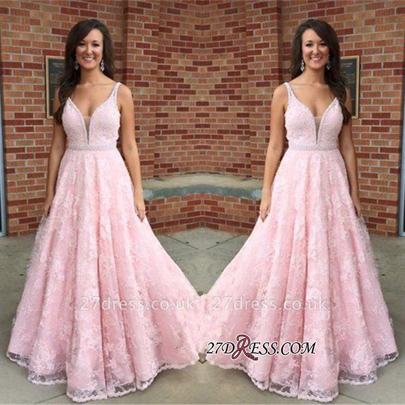 V-Neck Pink Sexy Crystal Lace Sleeveless Prom Dress UK