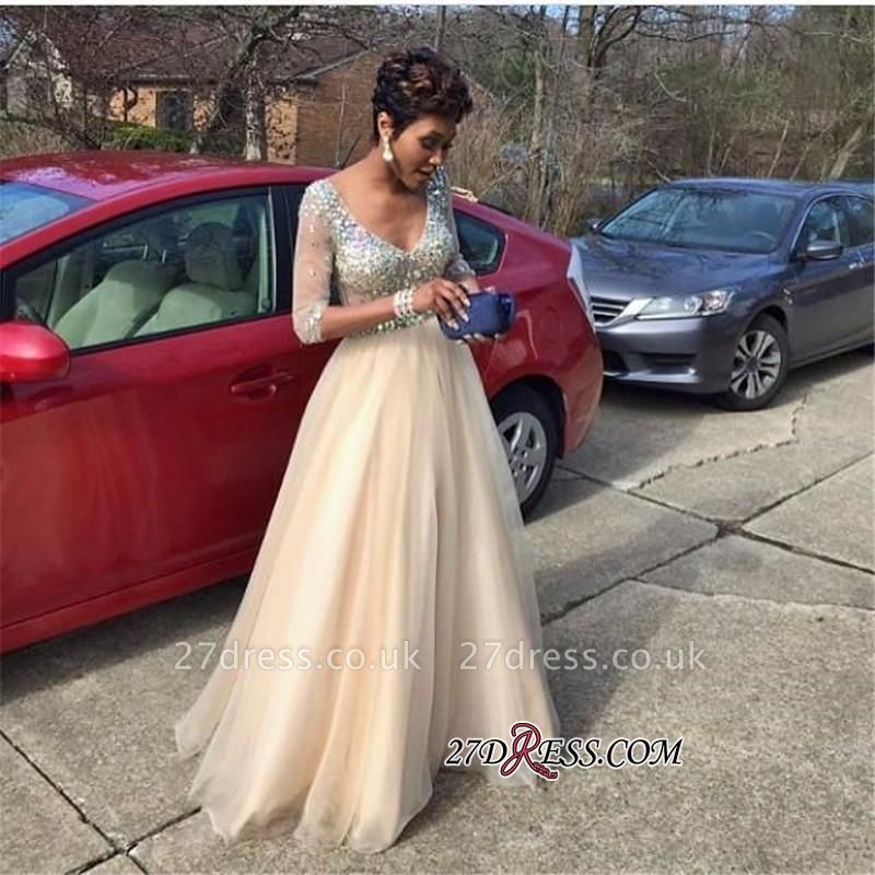 V-Neck Crystal Gorgeous Half-Sleeves Tulle Floor-Length Prom Dress UK