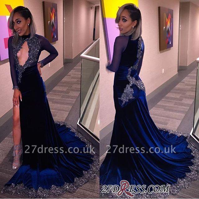 Elegant Halter Sequins Key-Hole Long-Sleeves High-Slit Prom Dress UK CC0030 BK0