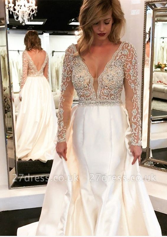 V-Neck Long Sleeve Wedding Dress With Beadss Crystal