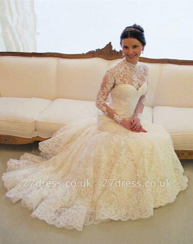 Gorgeous Long Sleeve lace Wedding Dress High-neck Open Back Zipper