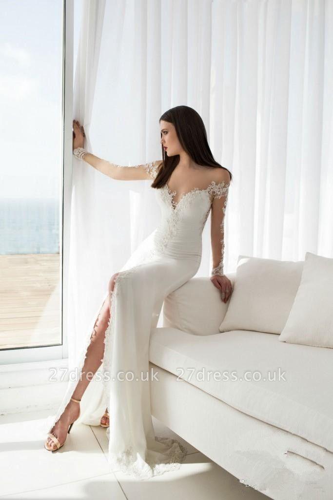 Delicate Off-the-shoulder Long Sleeve Wedding Dress UK Appliques With Front Split