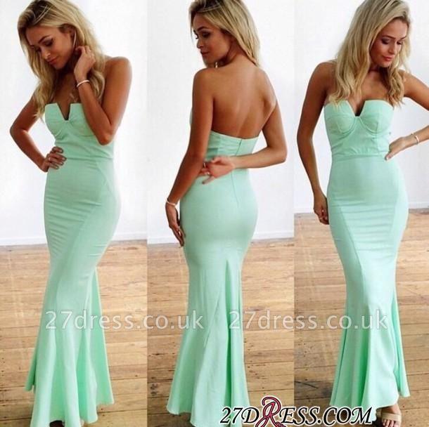 Mermaid Floor-Length Sweetheart Mint Sleeveless Elegant Zipper Prom Dress UKes UK
