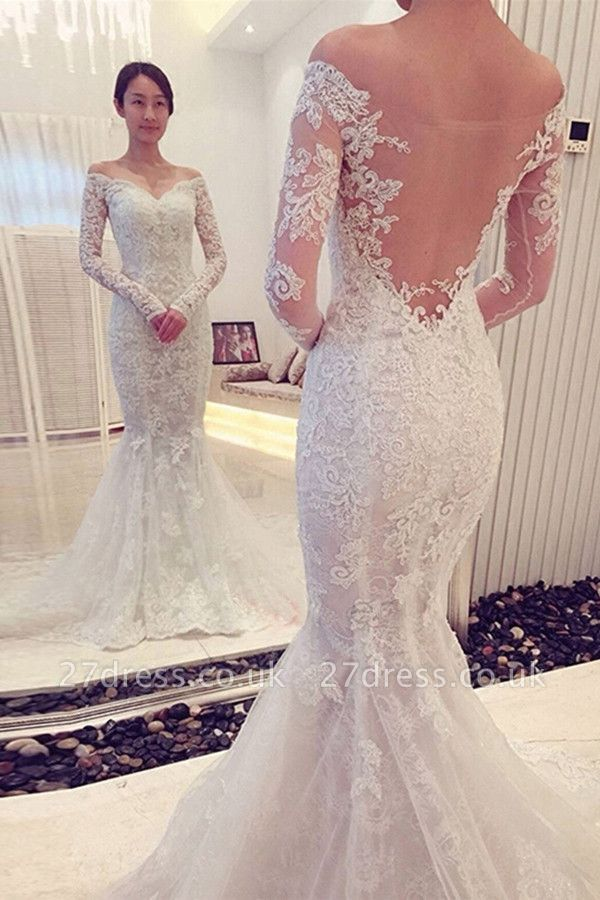Elegant  Sexy Mermaid Off-the-shoulder Long Sleeve Lace Wedding Dress
