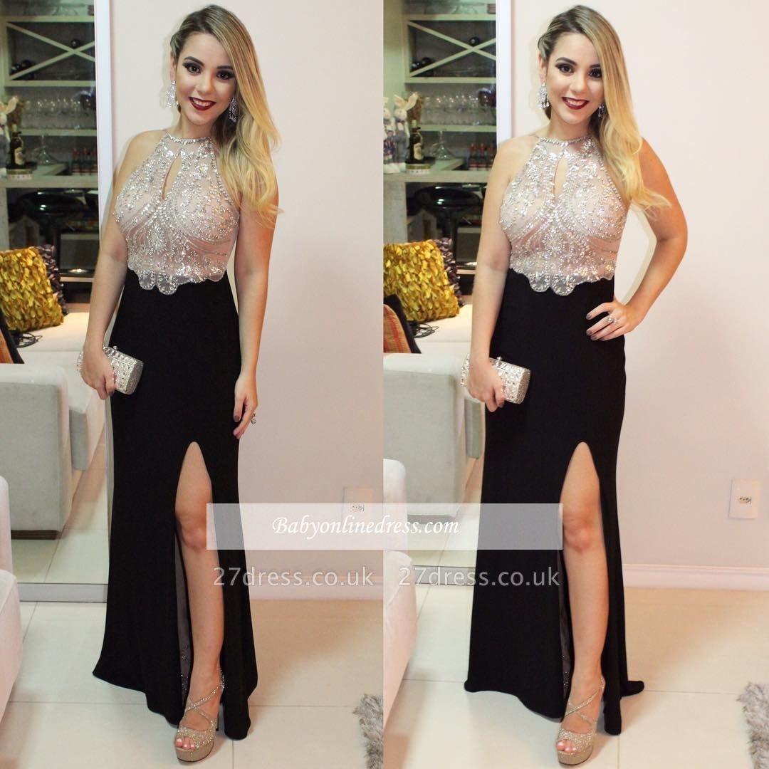 Black prom Dress UK with slit, evening Dress UK