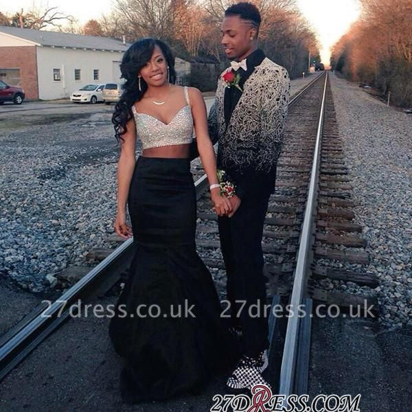 Sleeveless Modern Two-Piece Straps Long Mermaid Prom Dress UK BK0
