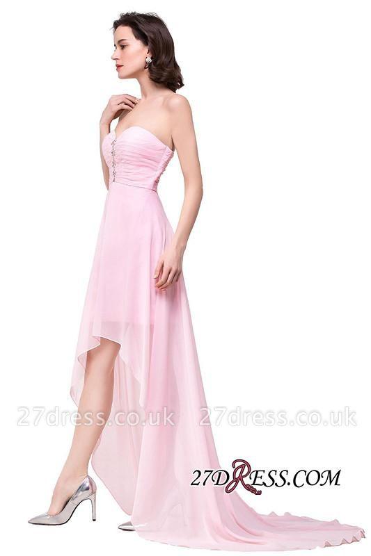 Chiffon Beadings Sweetheart Simple A-Line Hi-Lo Prom Dress UKes UK