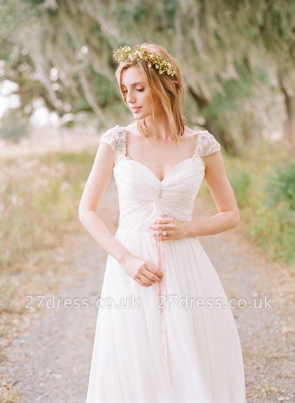Elegant Cap Sleeve Lace Wedding Dress Long  Sweetheart