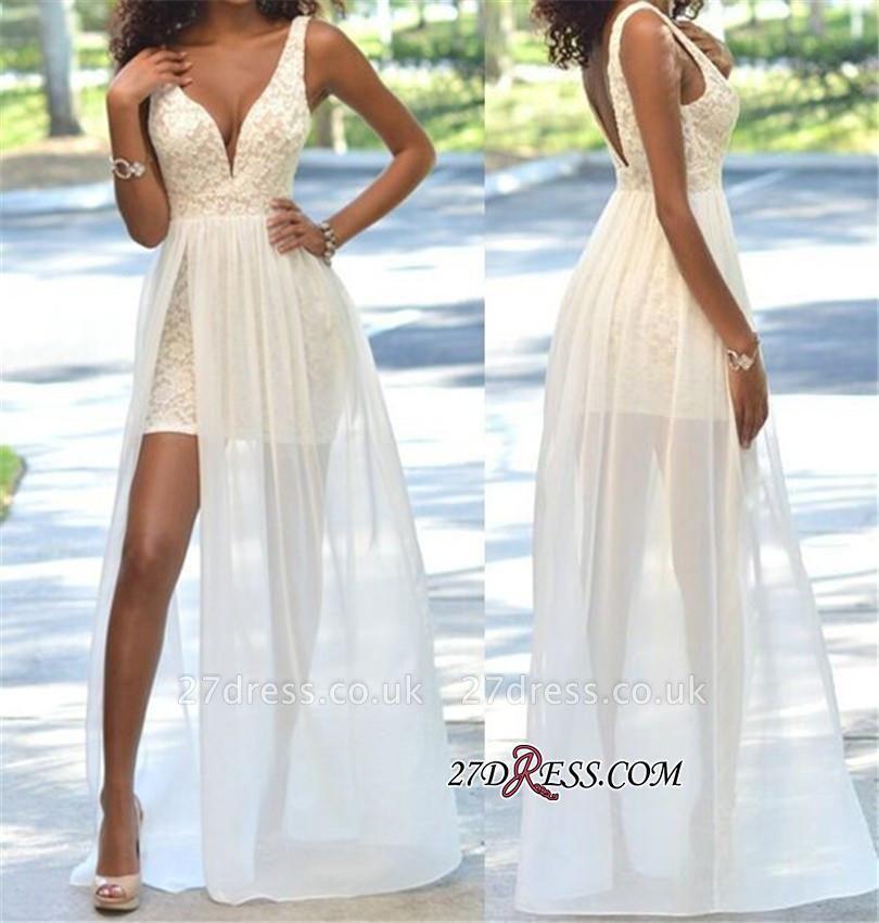 Deep-V-Neck Sheath Open-Back Elegant Lace Sleeveless Prom Dress UK