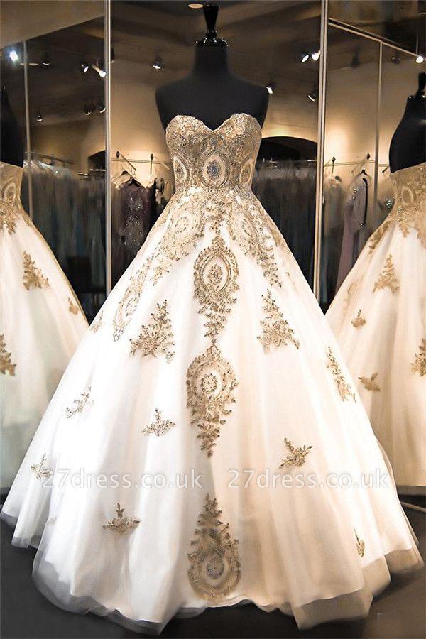 Luxurious Sweetheart Golden Appliques Wedding Dress Beadss Ball Gown Prom Dress