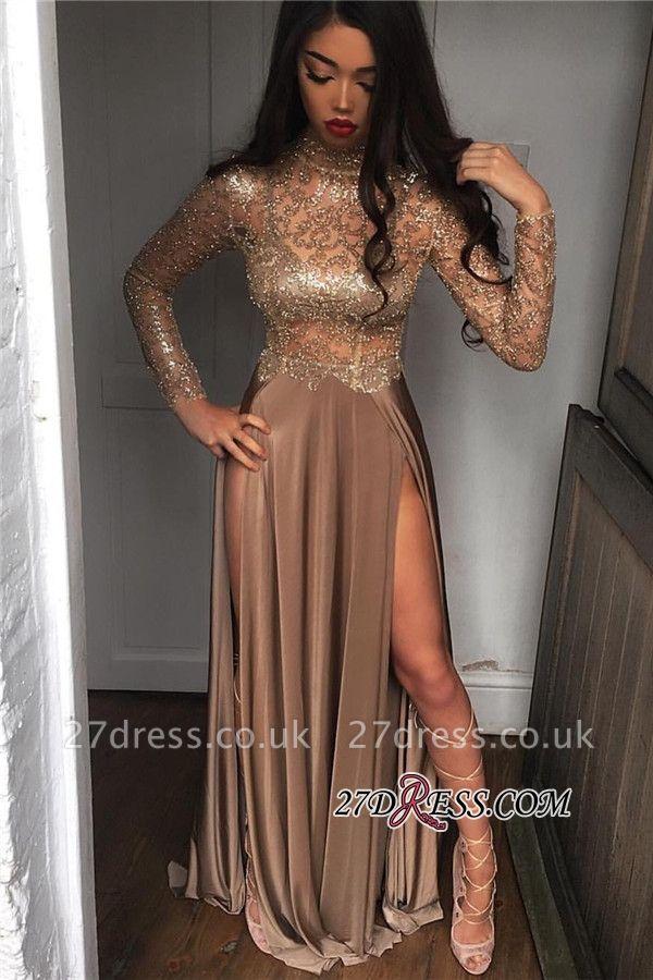Elegant Sheer High Neck Side Slit Prom Dress UKes UK BA6620