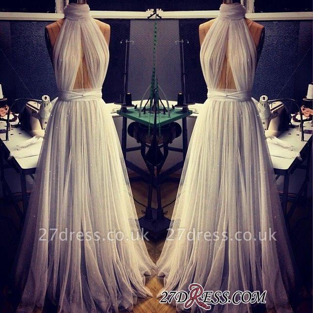 A-line Sleeveless Newest High-Neck Tulle Prom Dress UK BA2524