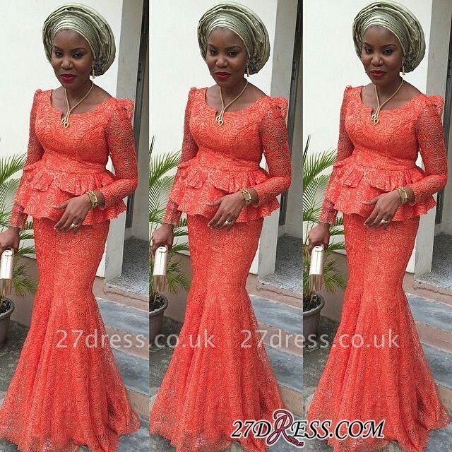 Mermaid Long-Sleeves Lace Nigerian Floor-length Evening Dress UK
