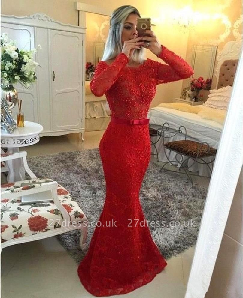 Gorgeous Jewel Mermaid Red Pom Dress UK Long Sleeve With Beadings