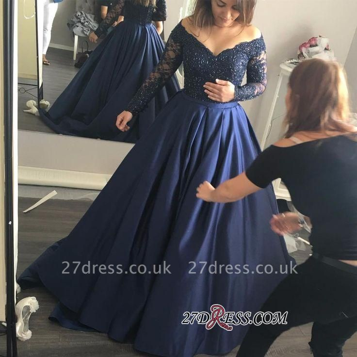 Long-Sleeves Off-the-Shoulder Navy-Blue Lace Sexy Prom Dress UK qq0253