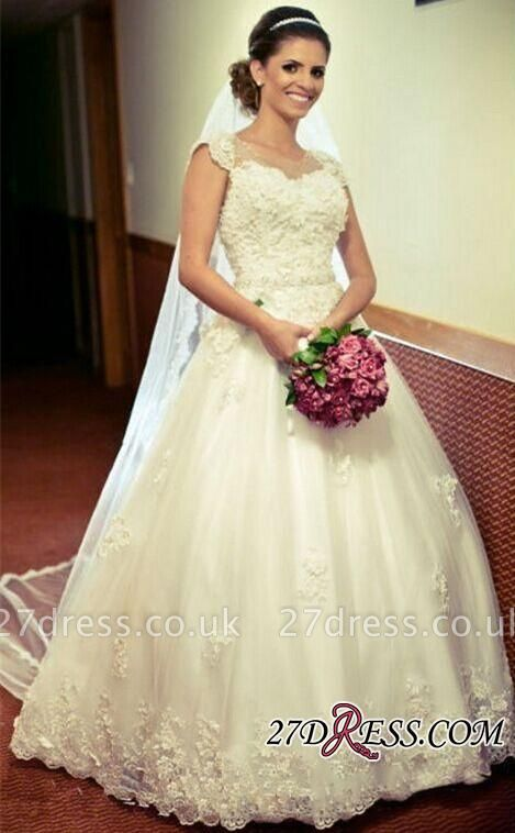 Cap-Sleeve Lace Tulle Ball Appliques Jewel Crystal-Belt Princess Gown Wedding Dres
