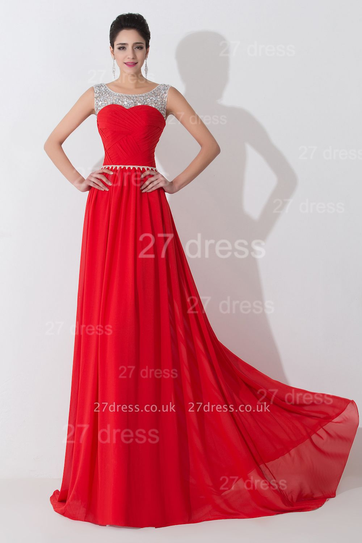 Modern Red Illusion Chiffon Evening Dress UK Crystals Sweep Train