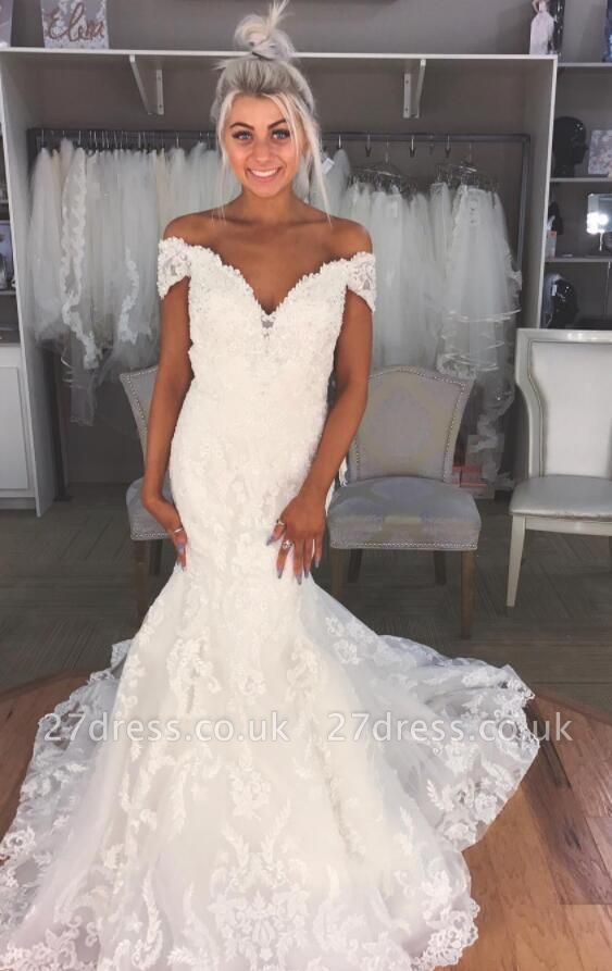 Elegant  Sexy Mermaid Off-the-Shoulder Wedding Dresses UK Lace Bridal Gowns