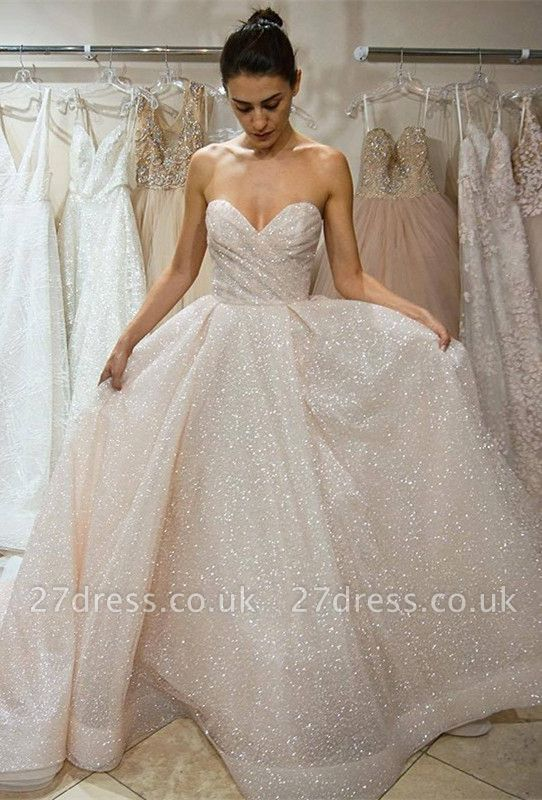 Sweetheart Sequins Wedding Dress | Sweetheart Princess Wedding Reception Dress