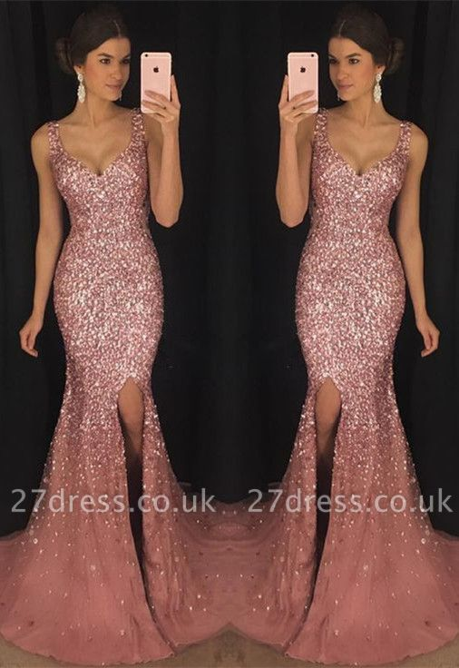 Luxury Sleeveless V-neck Crystal Evening Dress UK Mermaid With Crystal AP0
