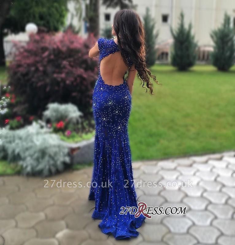 Lace-Appliques Beads Sleeveless Mermaid Royal-Blue Luxury Prom Dress UK BA4876