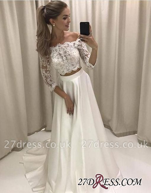 Two-pieces White Sweep-train Lace Off-the-shoulder Evening Dress UK BA7423
