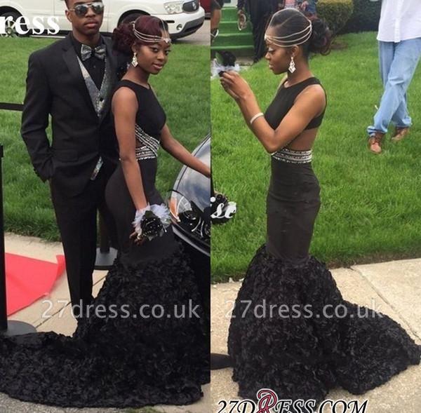 Flower-Train Long Backless Sleeveless Mermaid Elegant Black Prom Dress UK BK0